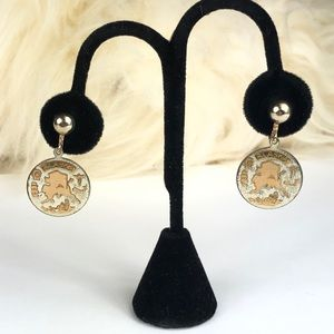 Vtg Alaska Coin Style Two Tone Earrings Screwback